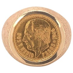 Men's Gold 2.50 Mexican Peso Coin Pinky Ring