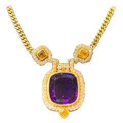 Men's Gold Amethyst and Diamond Necklace