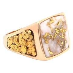 Men's Gold Quartz and Gold Nugget Large Ring, 14 Karat and 22 Karat Yellow Gold