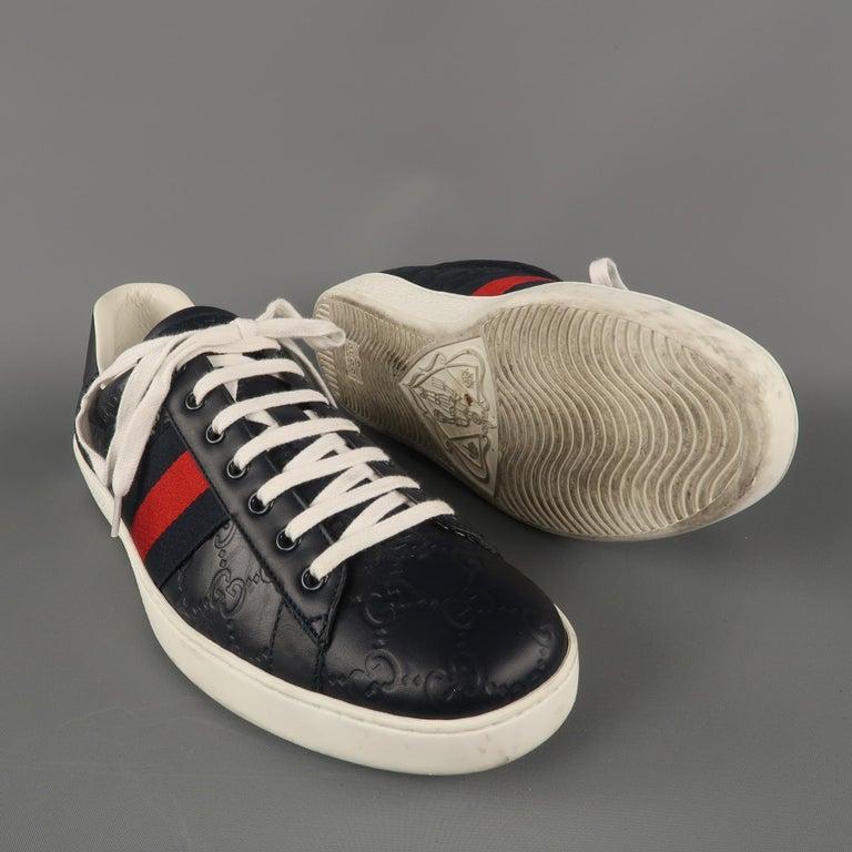 de1ecaf5b0 Black Men's GUCCI ACE Size 11 Navy Monogram Leather Lace Up Sneakers For  Sale