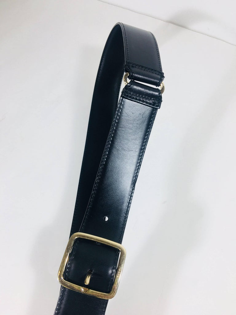 Mens Gucci Black Leather Belt with Silver Buckle