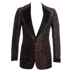 Men's Gucci bronze jacquard evening blazer jacket, ss 2005