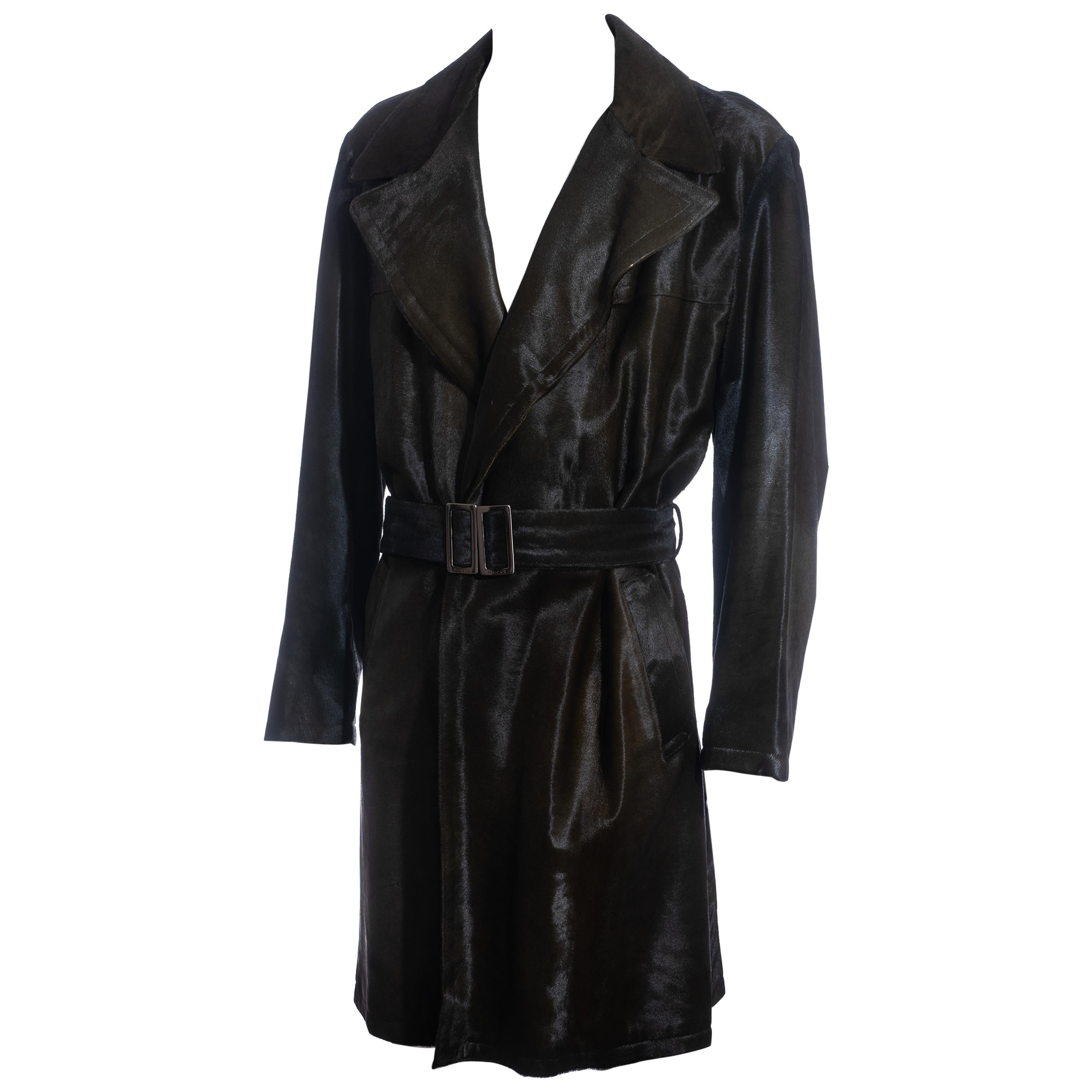 Men's Gucci by Tom Ford bottle green pony hair trench coat, fw 2005j