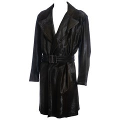 Men's Gucci by Tom Ford bottle green pony hair trench coat, fw 2005