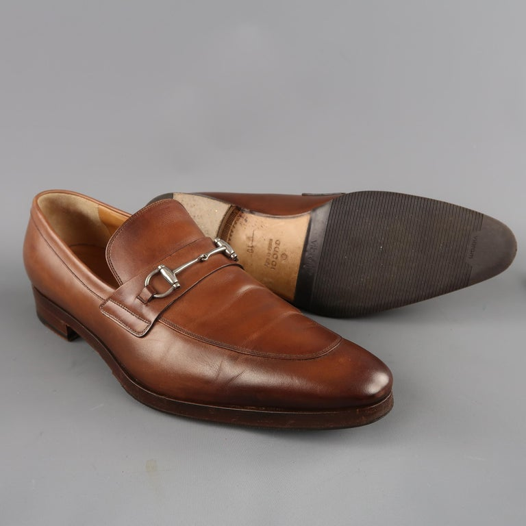 51a0df1744e Men s GUCCI Size 11 Tan Antique Leather Silver Horsebit Pointed Toe Loafers  In Good Condition For