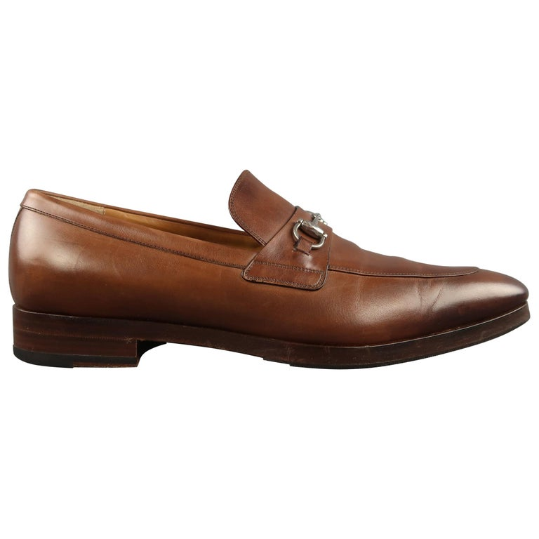 7fd0d8ae307 Men s GUCCI Size 11 Tan Antique Leather Silver Horsebit Pointed Toe Loafers  For Sale