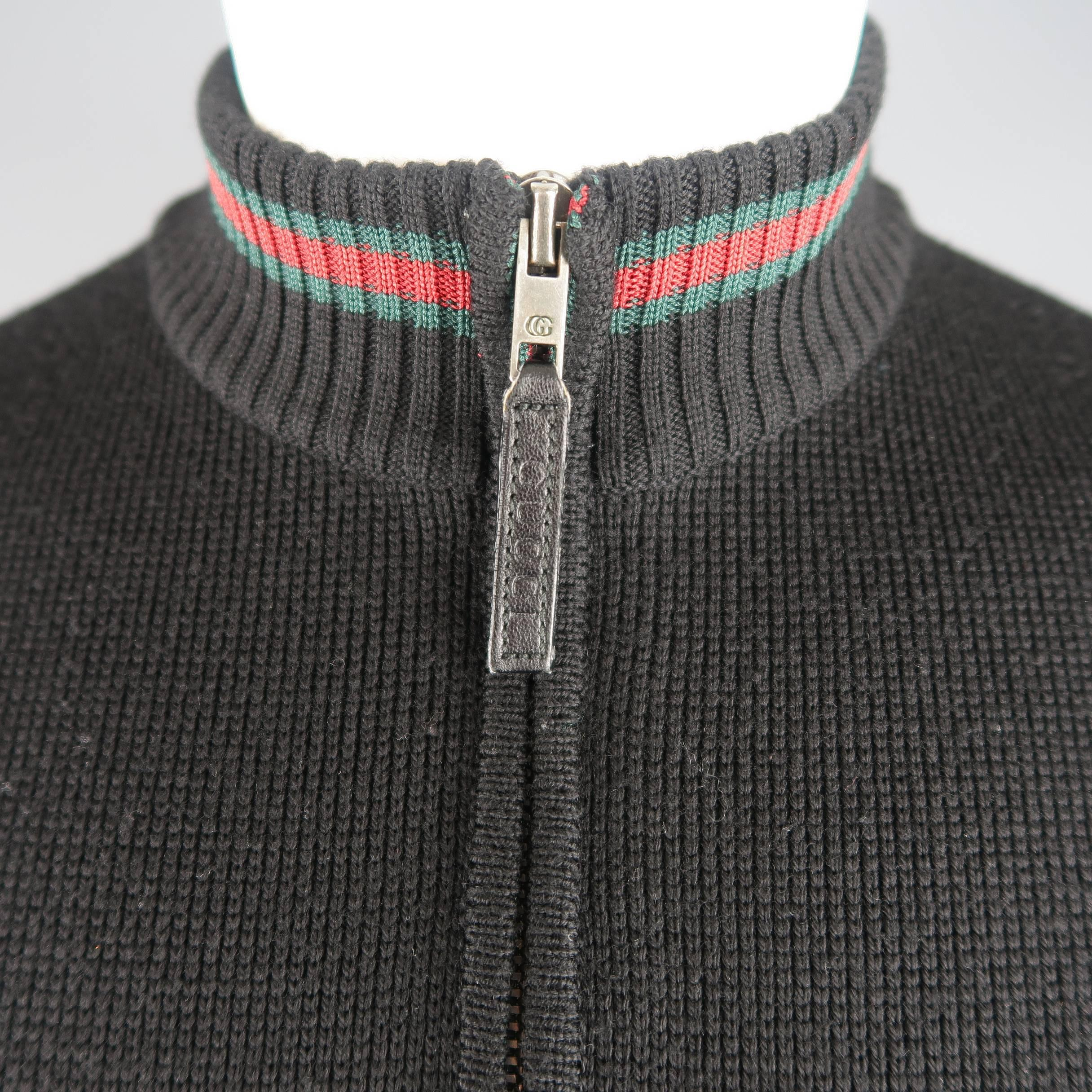 5f98a2f1a Gucci Men's Black Wool Red and Green Stripe Zip Cardigan at 1stdibs