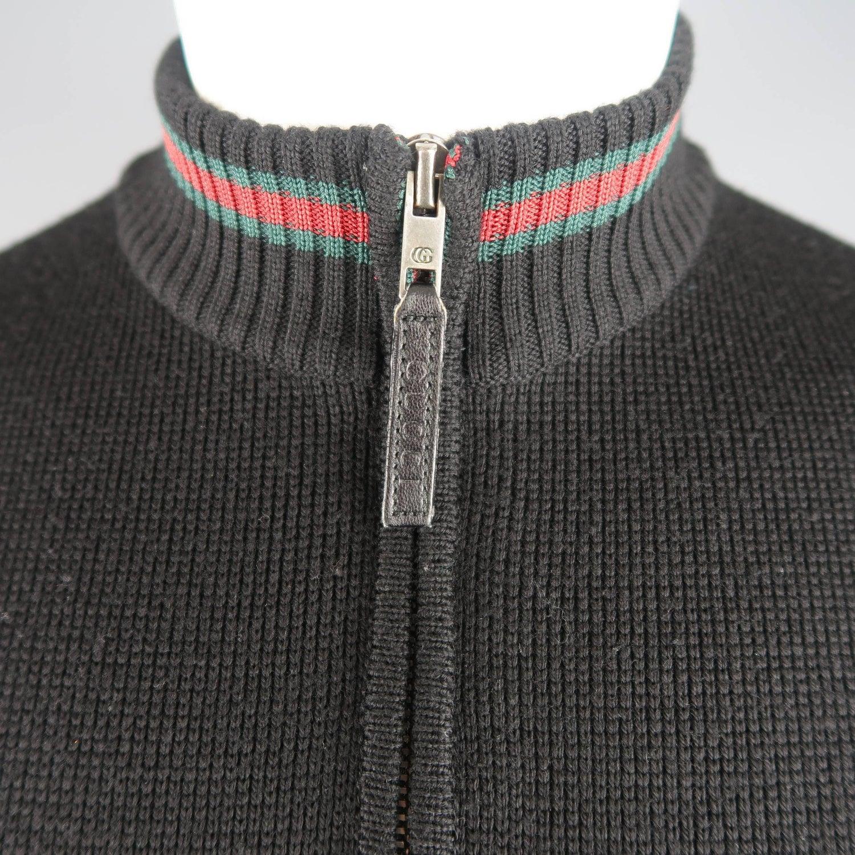 20492dbe Gucci Men's Black Wool Red and Green Stripe Zip Cardigan