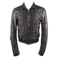 Men's GUCCI SS 2000 by TOM FORD 36 Black Ruched Leather Bomber Motorcycle Jacket