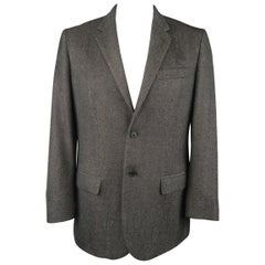 Men's HELMUT LANG 42 Regular Charcoal Heather Wool Notch Lapel Sport Coat