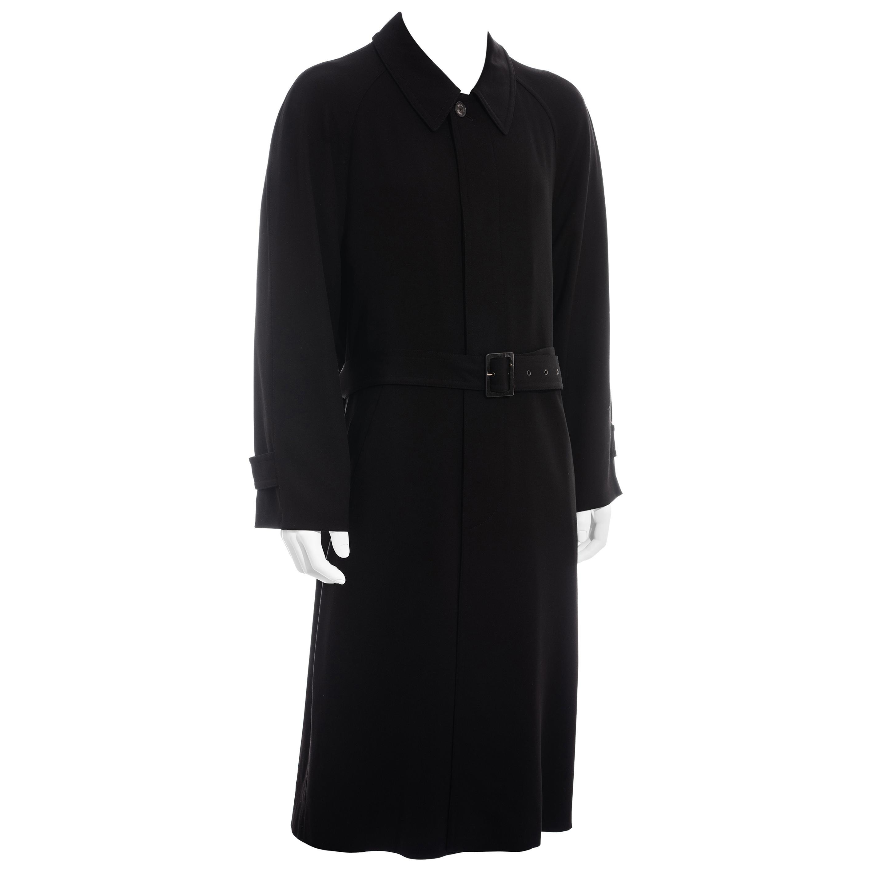 Men's Hermes black wool belted trench coat, c. 1980s