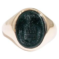 Mens Intaglio Bloodstone 9 Carat Yellow Gold Vintage Signet Ring