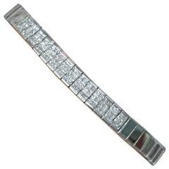 Men's Invisible Set Diamond Bracelet Set in 14 Karat White Gold 1.50 Carat