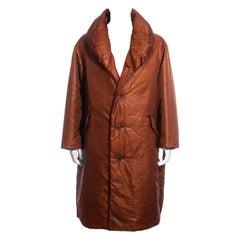 Men's Issey Miyake burnt orange nylon puffer coat, fw 1994