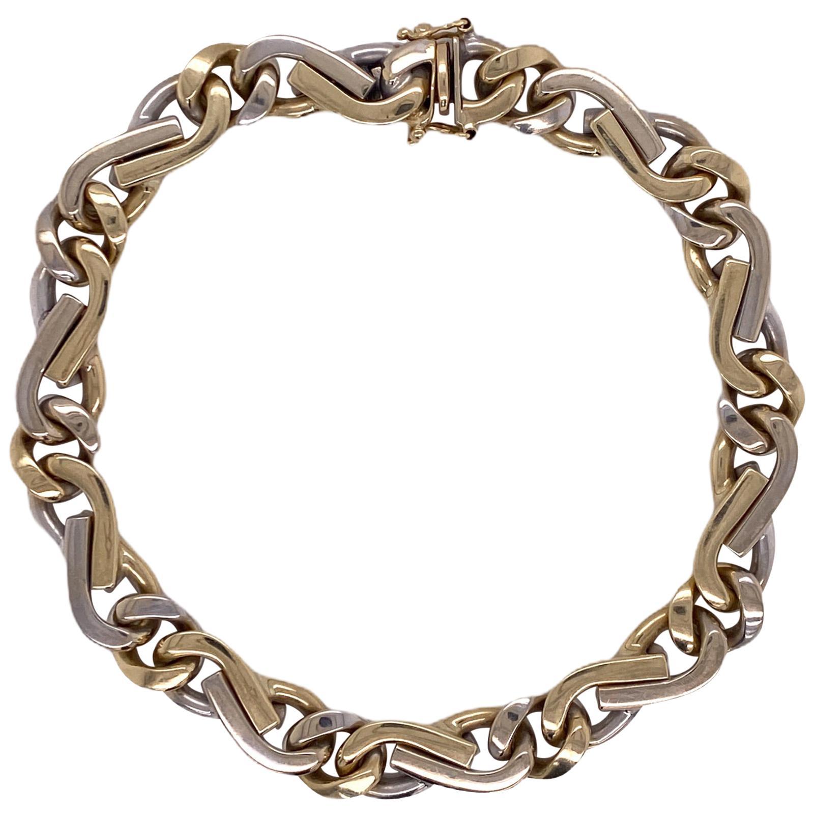 Men's Italian 14 Karat Two-Tone Link Bracelet