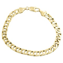 Men's Italian Modified Mariner Anchor Flat Link Yellow Gold Bracelet
