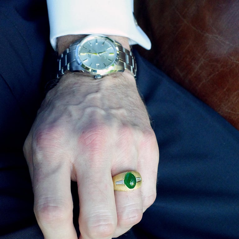 Certified Omphacite Jade Ring of
