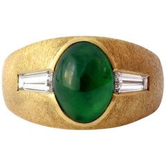 "Men's Jade Ring of ""Imperial"" Color with Diamonds, circa 1965"