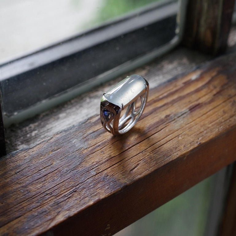 Jade Ring in White Gold with Sapphires is Nearly Colorless and Semi-Transparent For Sale 7