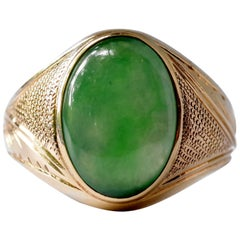 Men's Jade Ring of Watery Translucent Untreated Jadeite from Mid-Century