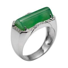 Men's Jade Ring with Diamonds Certified Untreated