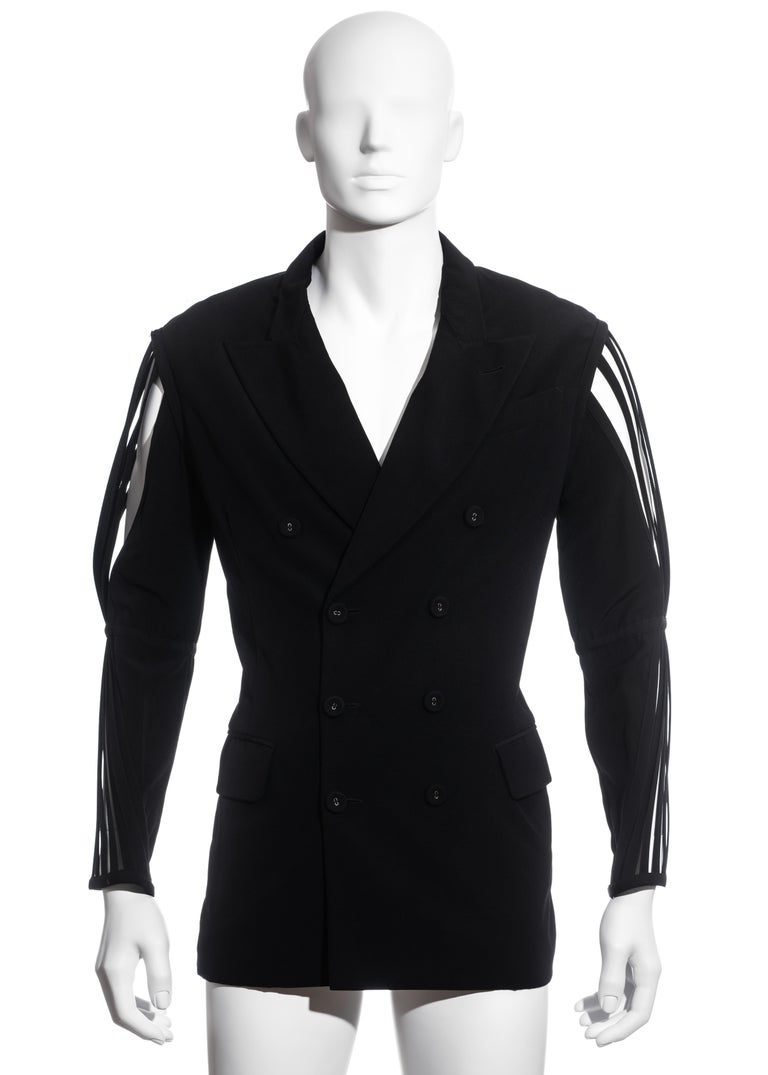 Men's Jean Paul Gaultier black wool blazer jacket with caged sleeves, ss 1989 In Good Condition For Sale In London, GB