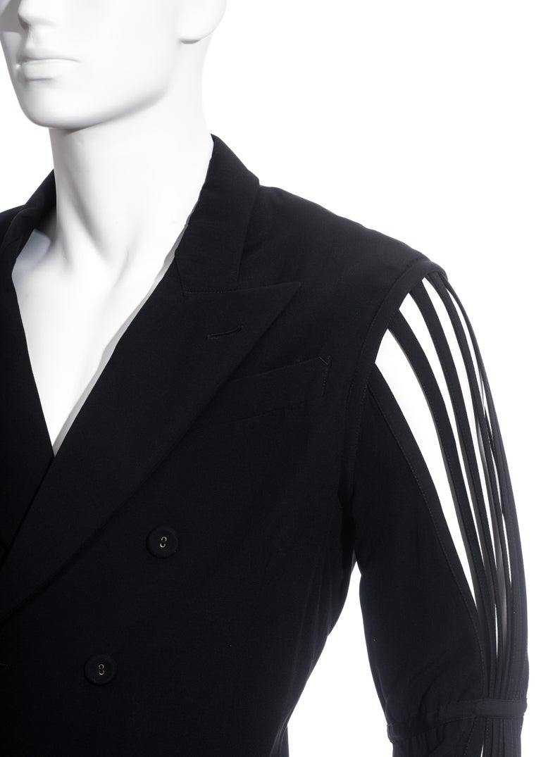 Men's Jean Paul Gaultier black wool blazer jacket with caged sleeves, ss 1989 For Sale 1