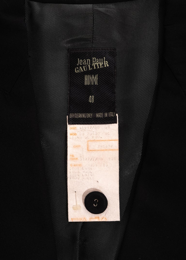 Men's Jean Paul Gaultier black wool blazer jacket with caged sleeves, ss 1989 For Sale 5
