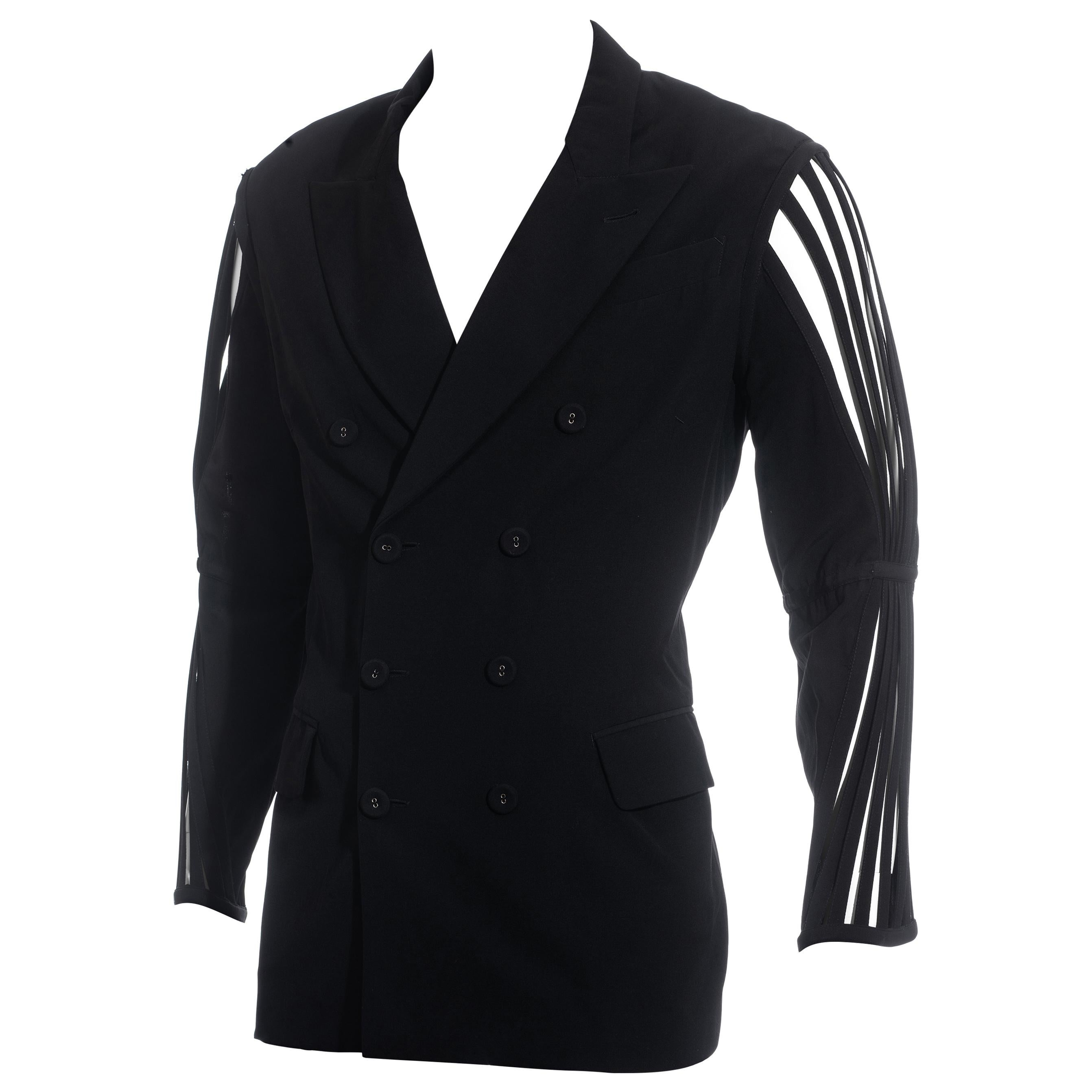 Men's Jean Paul Gaultier black wool blazer jacket with caged sleeves, ss 1989