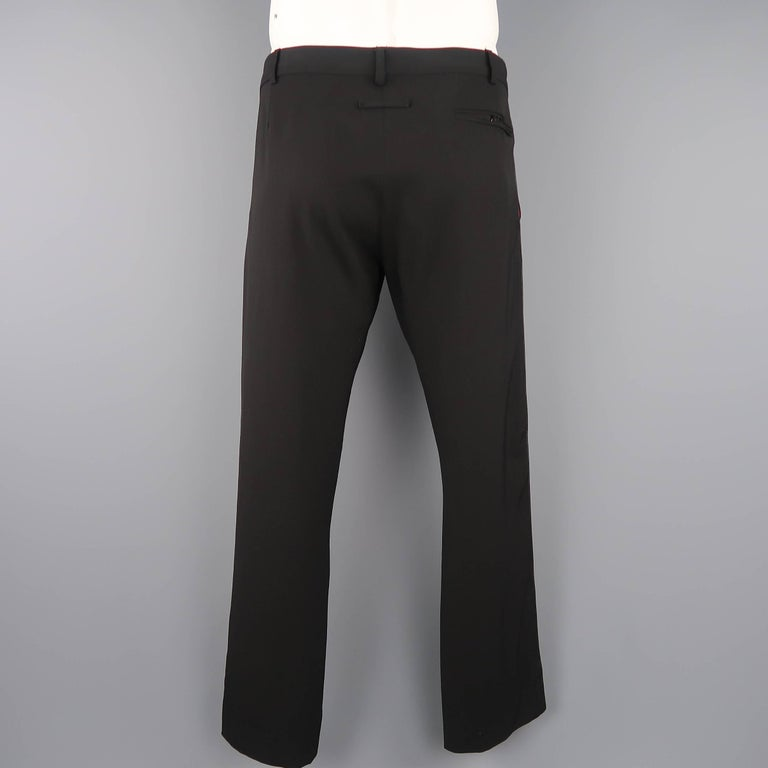 Jean Paul Gaultier Mens Black Wool Leather Piping Dress Pants At