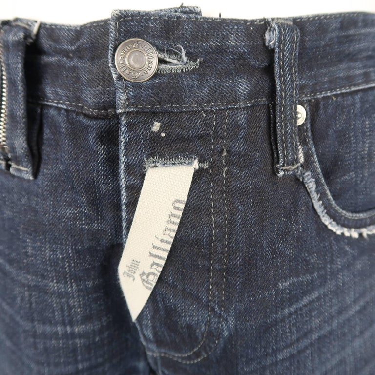 Black Men's JOHN GALLIANO Size 30 Navy Wash Distressed Denim Back Hoop Jeans For Sale