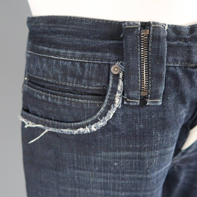 Men's JOHN GALLIANO Size 30 Navy Wash Distressed Denim Back Hoop Jeans In Good Condition For Sale In San Francisco, CA