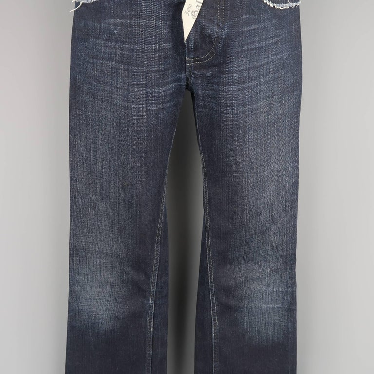 Men's JOHN GALLIANO Size 30 Navy Wash Distressed Denim Back Hoop Jeans For Sale 1