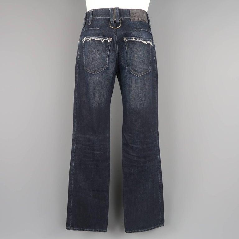 Men's JOHN GALLIANO Size 30 Navy Wash Distressed Denim Back Hoop Jeans For Sale 2