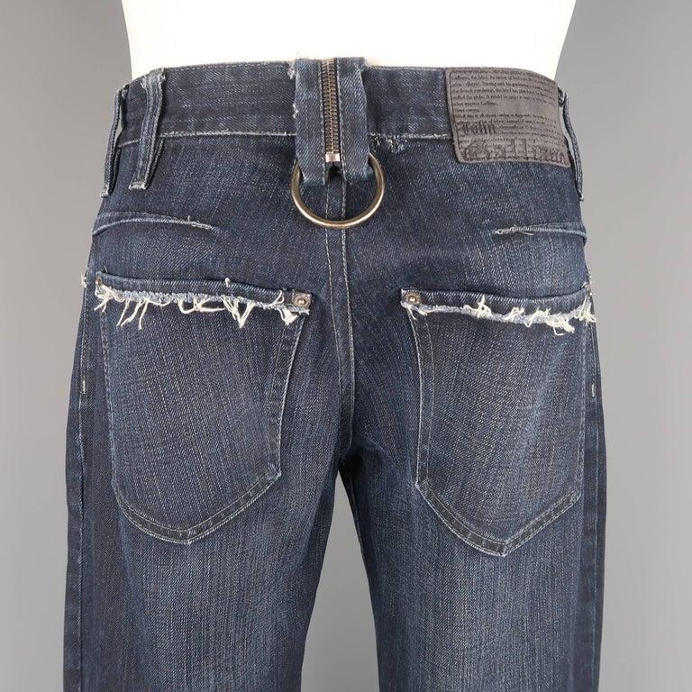 Men's JOHN GALLIANO Size 30 Navy Wash Distressed Denim Back Hoop Jeans For Sale 3