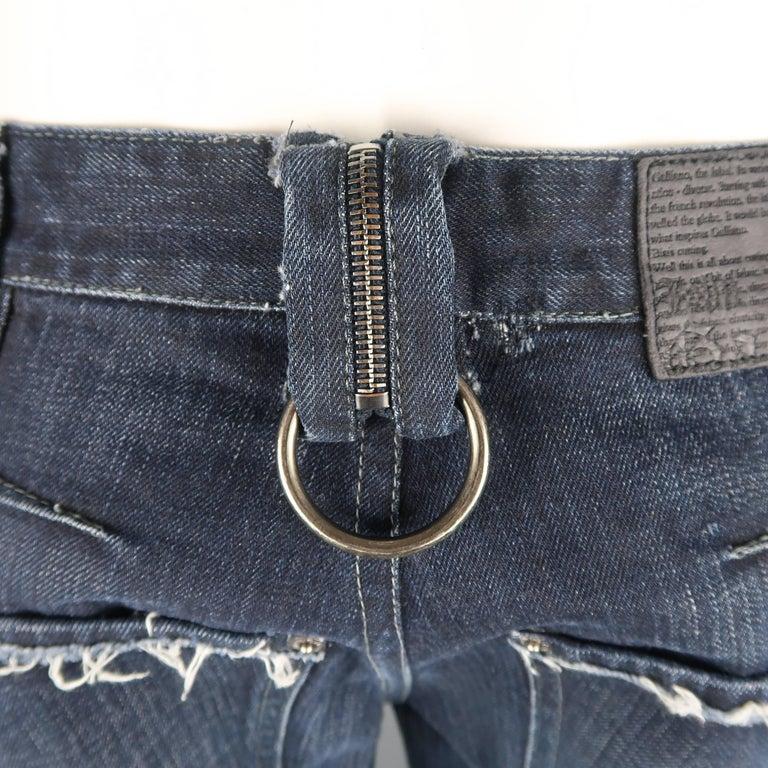 Men's JOHN GALLIANO Size 30 Navy Wash Distressed Denim Back Hoop Jeans For Sale 4