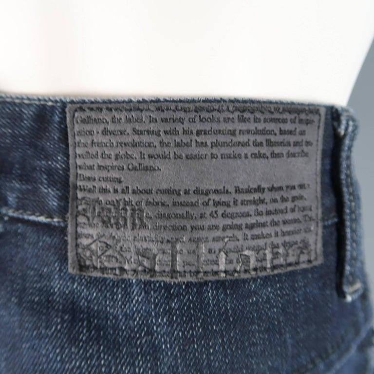 Men's JOHN GALLIANO Size 30 Navy Wash Distressed Denim Back Hoop Jeans For Sale 5