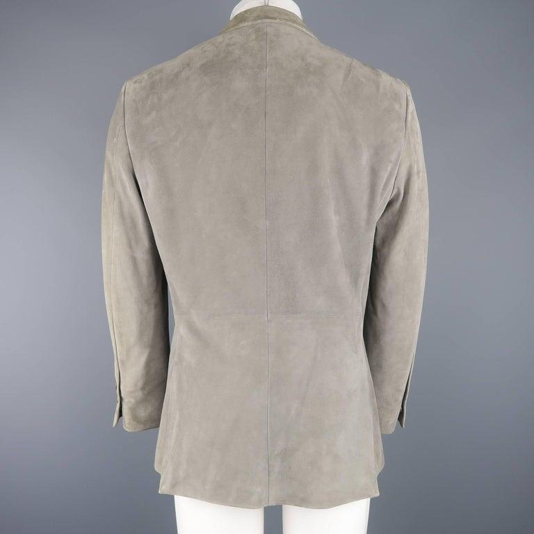 9e17f1f7047ee John Varvatos Men's 38 Short Gray Suede Peak Lapel 2 Button Sport Coat For  Sale 5