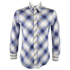 Men's JUST CAVALLI Size L Blue Shadow Plaid Cotton Long Sleeve Shirt