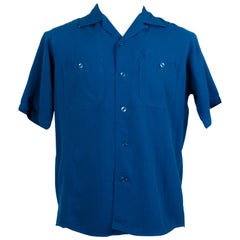 Men's King Louie Ten Strike Royal Blue Bowling Shirt – Medium, 1950s