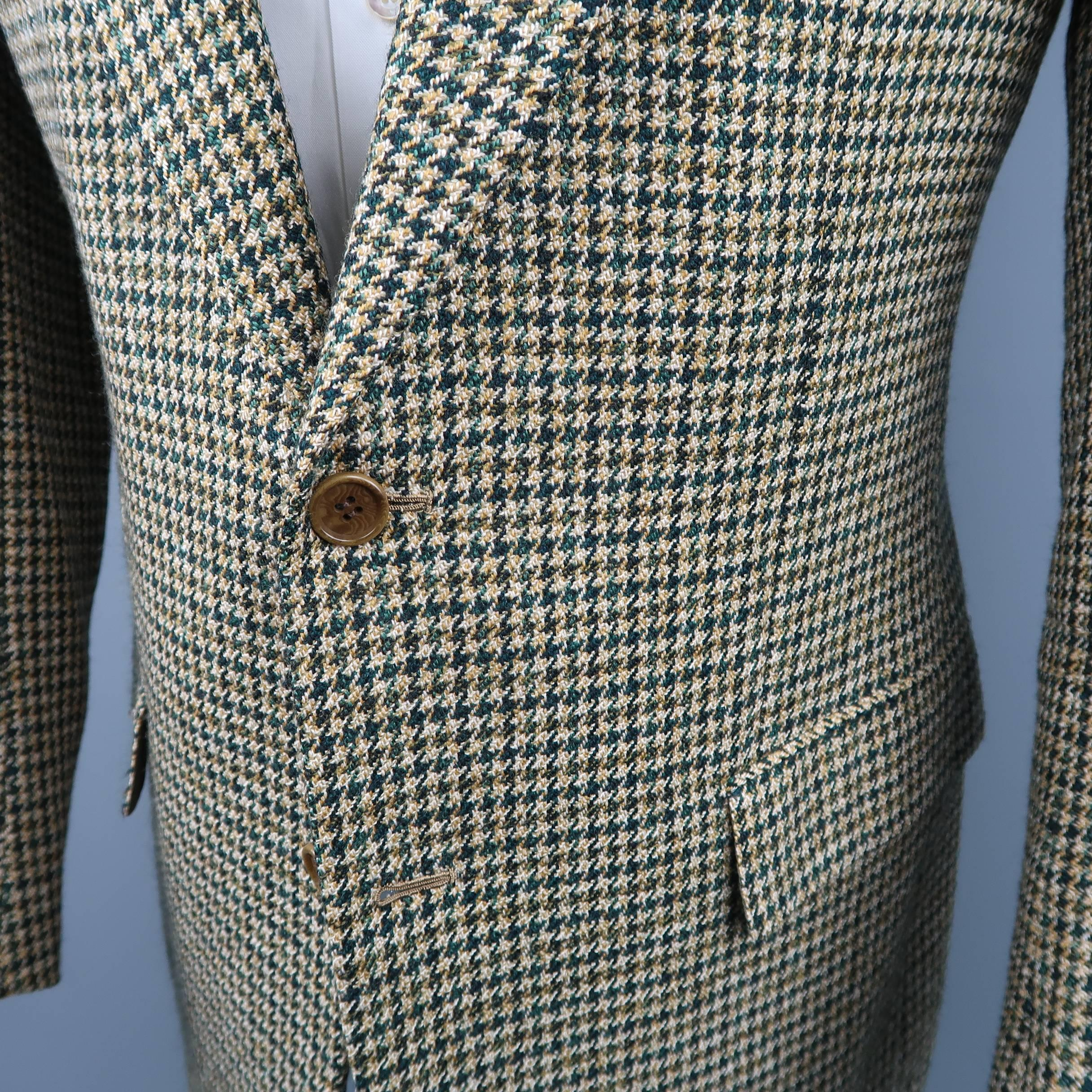 2ca59794c30 Men's KITON 40 Green and Tan Gold Houndstooth Wool / Cashmere Notch Lapel  Sport Co For Sale at 1stdibs