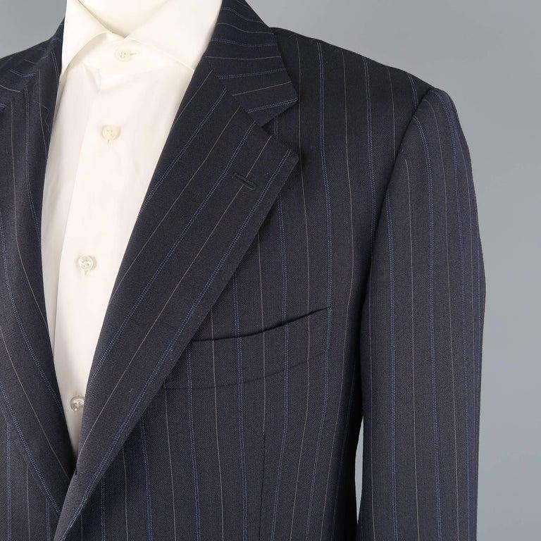 Black Men's KITON 42 Regular Navy Pinstripe Wool Notch Lapel Suit For Sale
