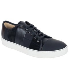 Mens Lanvin Black Calfskin Leather Striped Lace Up Sneakers