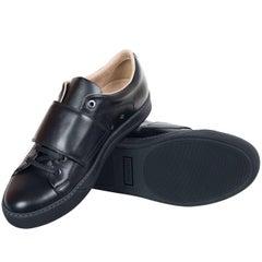 Mens Lanvin Black Nappa Calfskin Lace Up Snap Fastening Sneakers