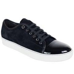 Mens Lanvin Black Suede Patent Cap Lace Up DDB1 Sneakers
