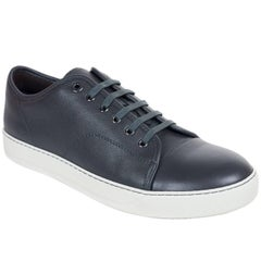 Mens Lanvin Grey Grained Calfskin Lace Up DDB1 Sneakers