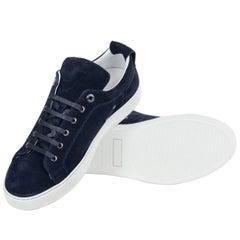 Mens Lanvin Navy Suede Nubuck Calfskin Lace Up Low Top Sneakers