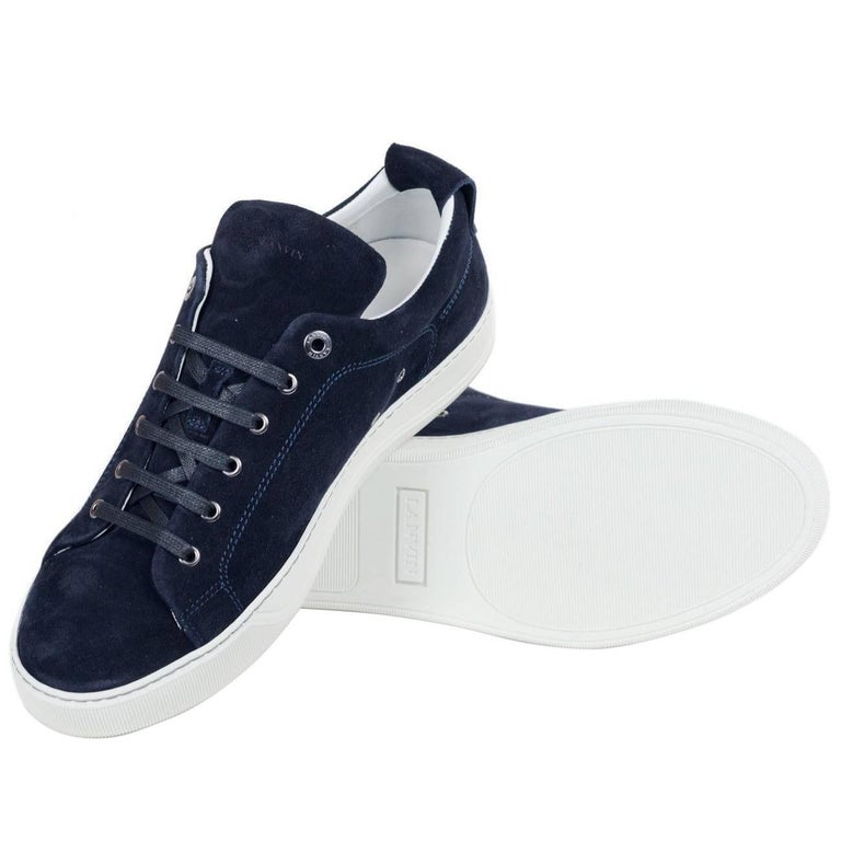 c051e598f817 Mens Lanvin Navy Suede Nubuck Calfskin Lace Up Low Top Sneakers For Sale