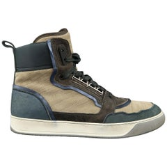 Men's LANVIN Size 11 Blue & Beige Color Block Suede & Leather High Top Sneakers