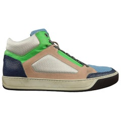 Men's LANVIN Size 11 Silver Pink Blue & Green Color Block High Top Sneakers